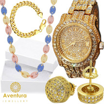 Men Hip Hop Iced out Gold PT Techno Pave Simulated Diamond Watch & Earri... - $48.90 CAD