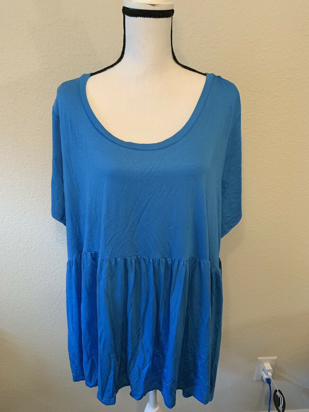 Terra and Sky baby doll short sleeve t-shirt 1X  3X  blue and black avail