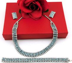 Vintage Necklace Bracelet Earrings Set White Milk Glass & Light Blue Rhi... - $84.95