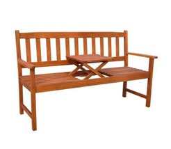 Outdoor Bench With Pop Up Table Garden Wooden Seat Backrest Armrest Chai... - $151.55