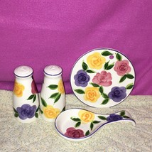Tabletops Unlimited Flora Di Roma Rose Pattern 4 Pc Tabletop Setting Sal... - $34.64