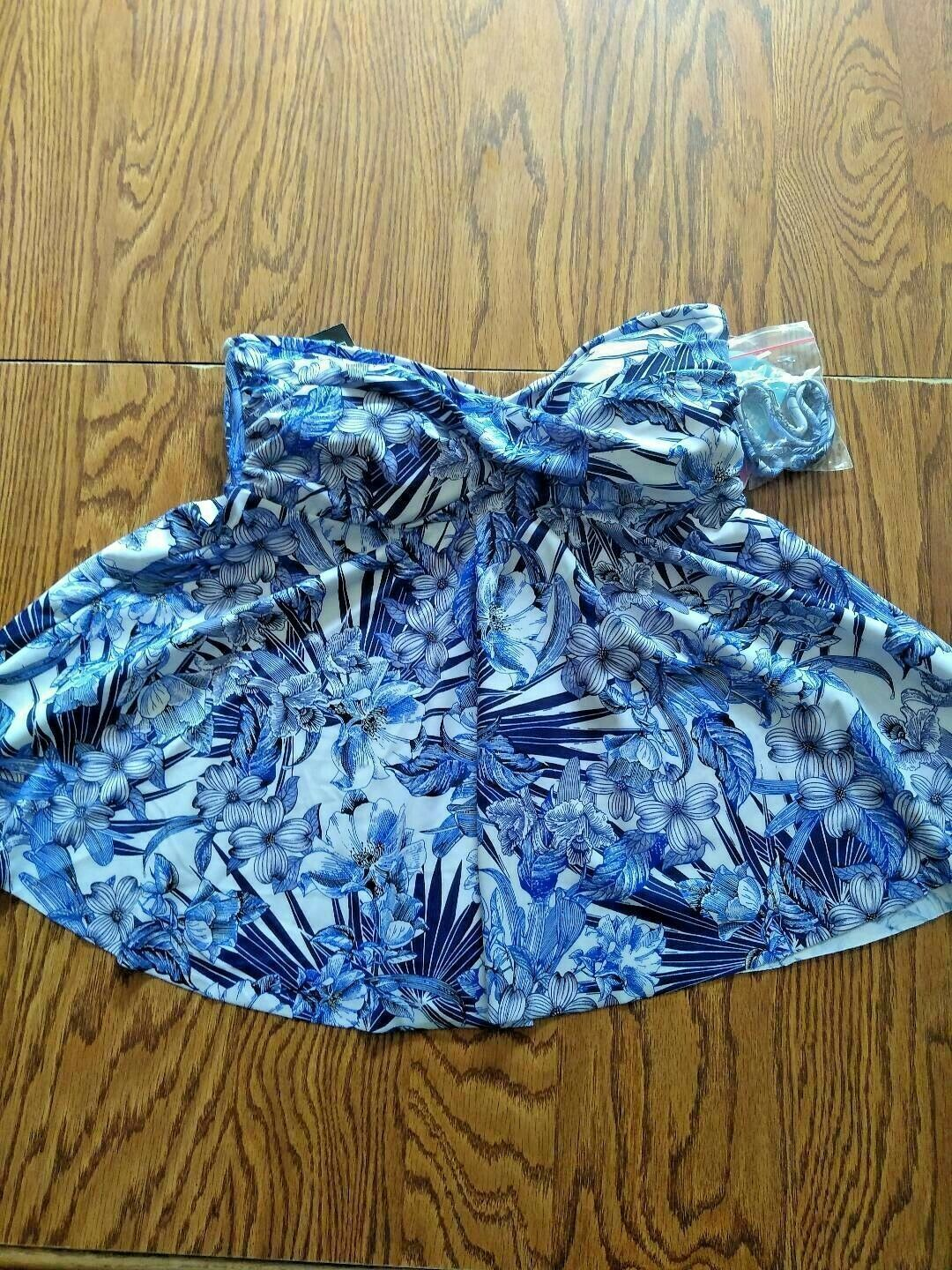 Swim Solutions Fly Away Black/Blue Bust Support Swimwear Top Size 8