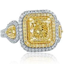 GIA 3.07 TCW Radiant Cut Yellow Diamond Engagement Ring 18k White Gold - $9,899.01