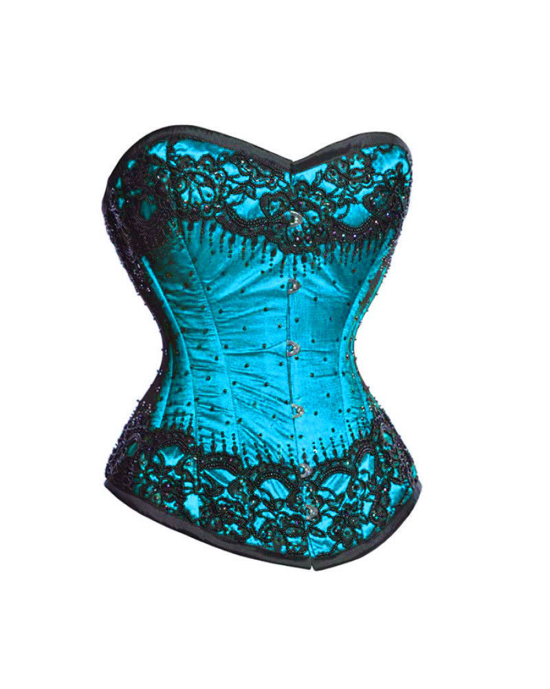 Baby Blue Satin Black Sequins Gothic Burlesque Bustier Overbust Corset Costume