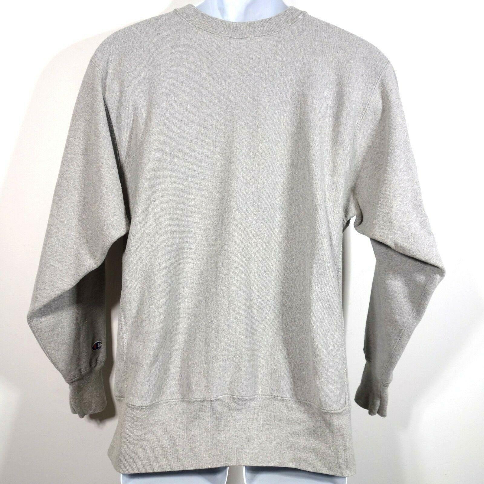 42ab2cb7 Vtg Champion Reverse Weave Pullover Crew Neck Sweatshirt Men's Large Gray  USA