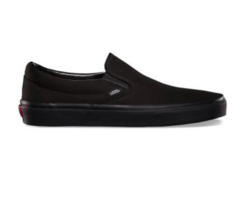 Vans Classic Slip On (Canvas) Black/Black Skateboarding Shoes Mens - $59.95