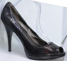 Calvin Klein Black Shoes Open Toe High Heel Pumps Animal Print Size 9.5M - $19.99