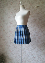 Navy Plaid Skirt Outfit Women Girl Pleated Plaid Skirt Navy Plaid Mini Skirts image 6