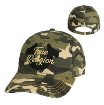 True Religion Men's Metallic Script Camo Logo Baseball Cap Sports Strapback Hat