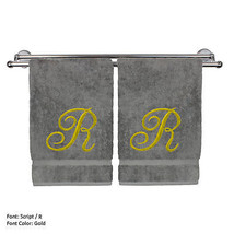 Monogrammed Washcloth Towel,13x13 Inches - Set of 2 - Gold Script - R - $27.99