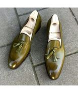 Handmade green  color leather loafers for men, men leather shoes - $144.99+