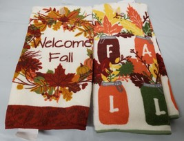 "Set Of 2 Different Microfiber Kitchen Towels (15""x25""), Leaves, Harvest, Fall - $9.89"