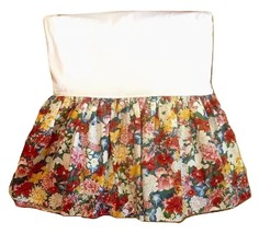 RALPH LAUREN Thousand Flowers Bedskirt Red Floral Modified Queen Full 57Wx75L - $96.90