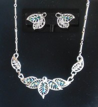 Set Coro Earrings Choker Collar Necklace AB Crystals Green Blue Vintage Jewelry - $34.95