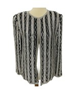 Vintage Black White Beaded Sequin long Sleeve open front size M - $27.06
