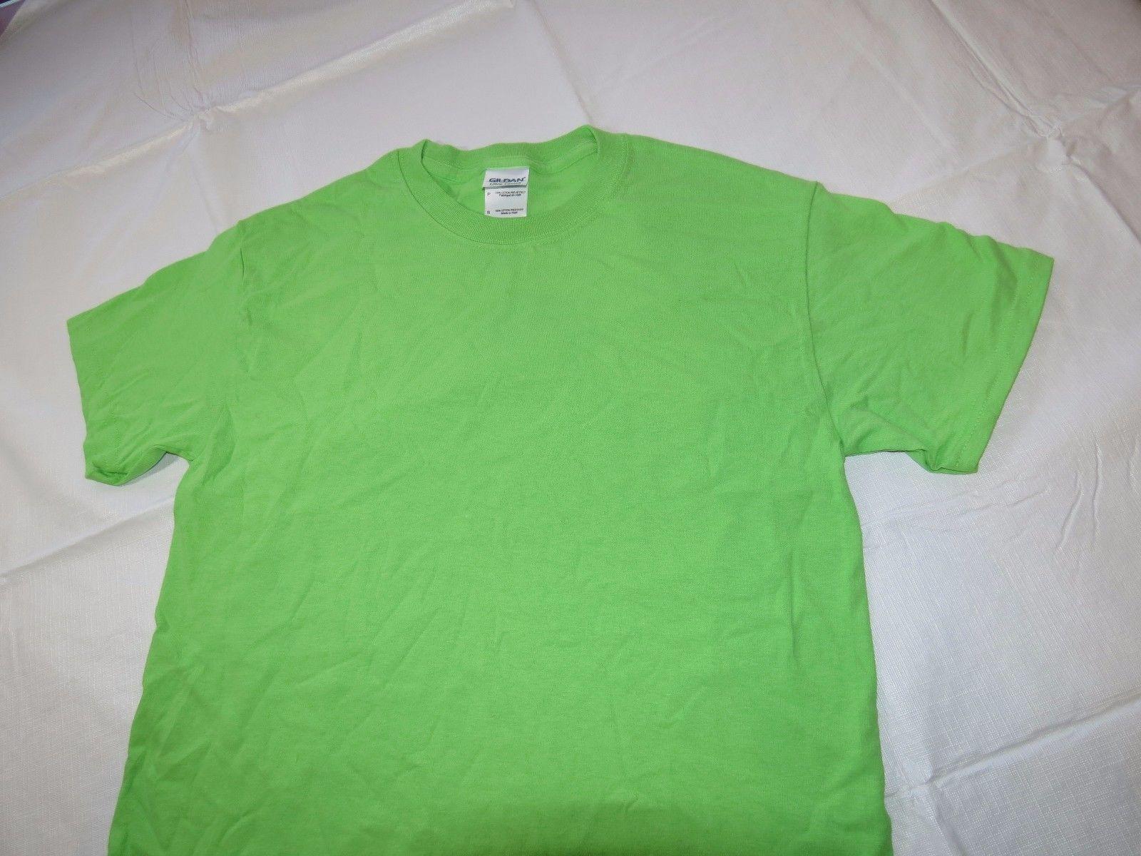 Gildan Ultra Cotton adult S small sm mens short sleeve t shirt lime green NOS