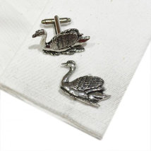 Elegant Swimming Swan Pewter Cufflinks uk pewter Cufflinks in gift box, cuffs image 2
