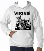 Viking Warrior Sword - New Cotton White Hoodie - $38.71