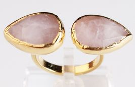 New Janna Conner Women's Gold Plated Rose Quartz Fashion Ring Size 7 image 3