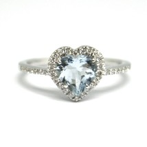 18K WHITE GOLD HEART LOVE RING, AQUAMARINE WITH DIAMONDS FRAME, MADE IN ITALY image 1