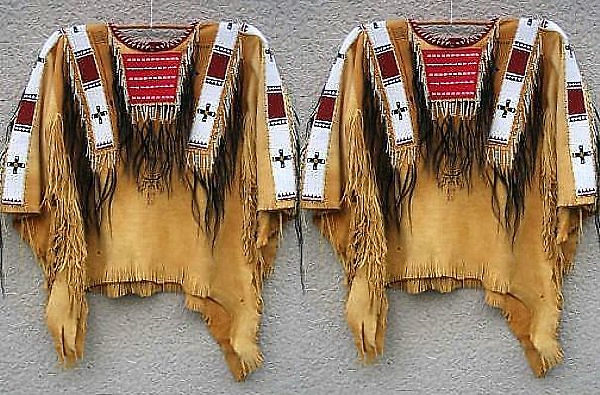 Mens New Native American Mountain Man Leather Fringe Bead War Shirt NA226