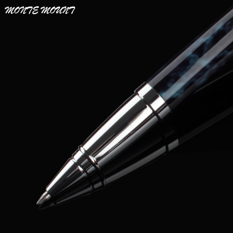 MONTE MOUNT Roller Ball Pen Plated Blue silver clip Escolar Writing Supplies Men