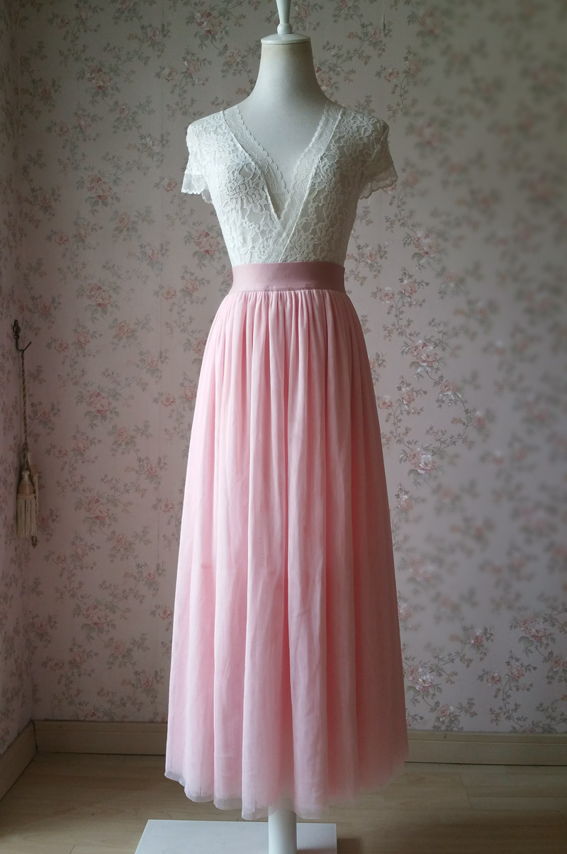 Floor Length Pink Tulle Skirt Pink Bridesmaid Tulle Skirt Plus Size