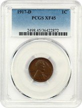 1917-D 1c PCGS XF45 BN - Lincoln Cent - $48.50