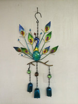 Metal Wind Chime Peacock with Glass Body and Metal Bells - $32.66