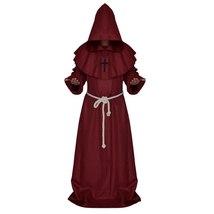 Medieval Priest Monk Robe Hooded Cap Halloween Cosplay Costume - $35.90