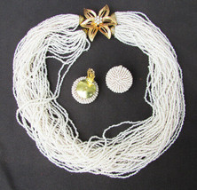 Multi strand white small beaded necklace flower clasp clip earrings demi... - $17.82