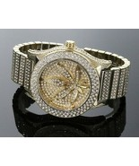 Men's Hip Hop Fully Iced Out 14K Gold Plated Mariguana Leaf TECHNO KING ... - $43.99