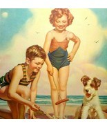 Children Terrier Dog Puppy Seagulls On Beach Art Print Vintage 1940s Oce... - $13.37