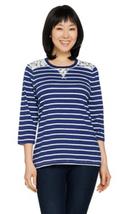 Denim & Co. Medium Perfect Jersey 3/4 Sleeve Striped Top Lace Detail Nav... - $19.46