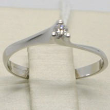 WHITE GOLD RING 750 18K, SOLITAIRE WITH DIAMOND CARAT 0.05, CRISS CROSSED, ITALY image 2