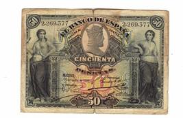 Banco De Espana, $50 Pesetas 1907 issue - $64.35