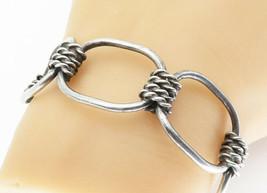 MEXICO 925 Silver - Vintage Open Designed Twist Link Cuff Bracelet - B5802 - $72.94