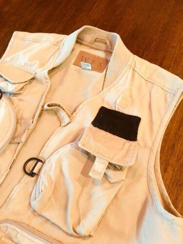 WFS KHAKI Beige fishing vest Size L 60% Cotton 40% Poly #186 image 3