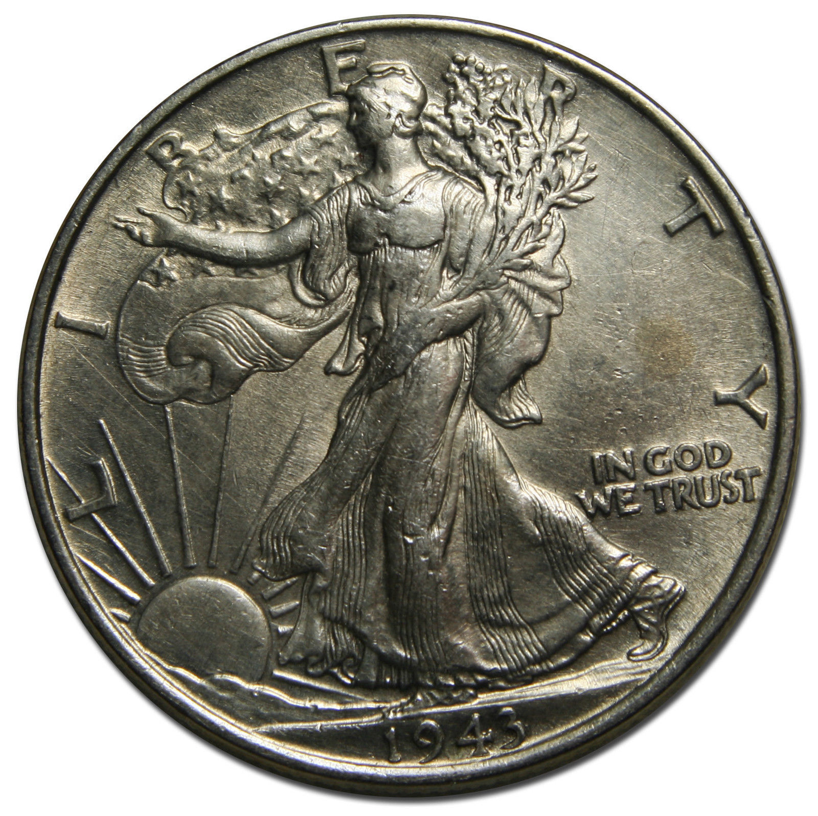 1943 Walking Liberty Half Dollar 90% Silver Coin Lot# MZ 3734