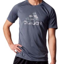 Adidas Men's Climalite Performance Short Sleeve Logo Crew Tee Shirt Gray  Sz M - $18.79