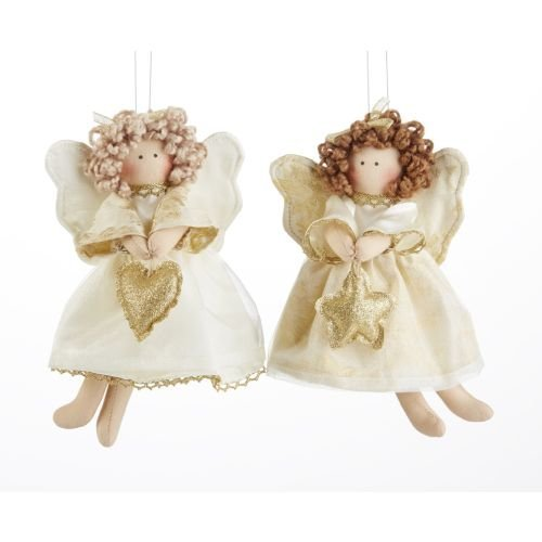 Delton 8 Inches Flying Champagne Angel Ornaments,Set of 2