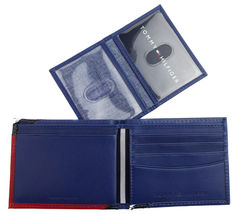 Tommy Hilfiger Men's Leather Wallet Passcase Billfold Red Navy 31TL22X051 image 10