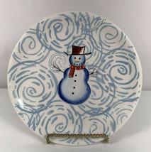 Snowman Salad Plate Brushes Handpainted Stonemite KIC - $12.82
