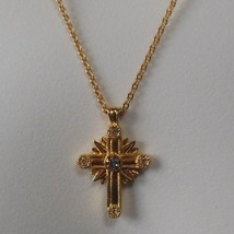 Vintage Signed Avon Gold-tone Rhinestone Cross Pendant Necklace - $15.99