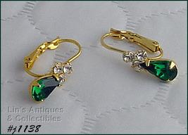 Eisenberg Ice Emerald Green and Clear Rhinestones Pierced Earrings (J1138) - $28.00