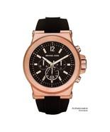 New Michael Kors Dylan Rose Gold Black Chronograph Silicone MK8184 Men's Watch - $108.85
