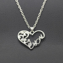 USA Silver Plated Rhinestone Heart MOM Necklace Mothers Day Birthday Gift  - $9.89