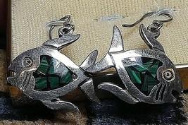 Vintage Sterling Silver Malachite/Onyx Inlay Fish Hoop Earrings Artist Signed - $28.14