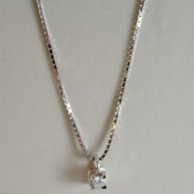 18K WHITE GOLD MINI NECKLACE WITH DIAMOND 0.01 CT, VENETIAN CHAIN MADE IN ITALY  image 1
