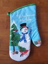 Christmas Kitchen Linen Set 5pc Towels Mitt Pot Holders Snowman Blue Holiday image 4